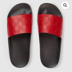 GUCCI Womens Red Black Classic Sandal Slides